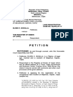 Sample Petition for Registration of Unregistered Land