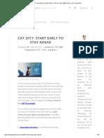 CAT 2017- Start Early to Stay Ahead - GP Ka Funda, MBA Blog for CAT Preparation