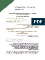 ALGUNAS DEFINICIONES DE POESÍA HECHAS POR POETAS