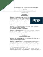 Reglamento General Del Consejo de La Magistratura