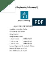 Analysis of Aspirin Lab Report