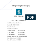 Analysis of Aspirin Lab Report