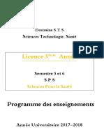 Programme 2017-2018 SPS 3eme Année