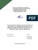 Evaluación Del Proceso de Facturación