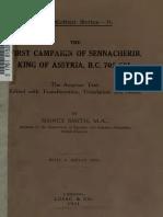 The First Campaign of Sennacherib, King of Assyria, B.C. 705-681