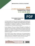 Call for Papers Simposio Arq Religiosa XVII ALER Toro 2018
