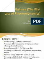 IV. Energy Balance (the First Law of Thermodynamics)