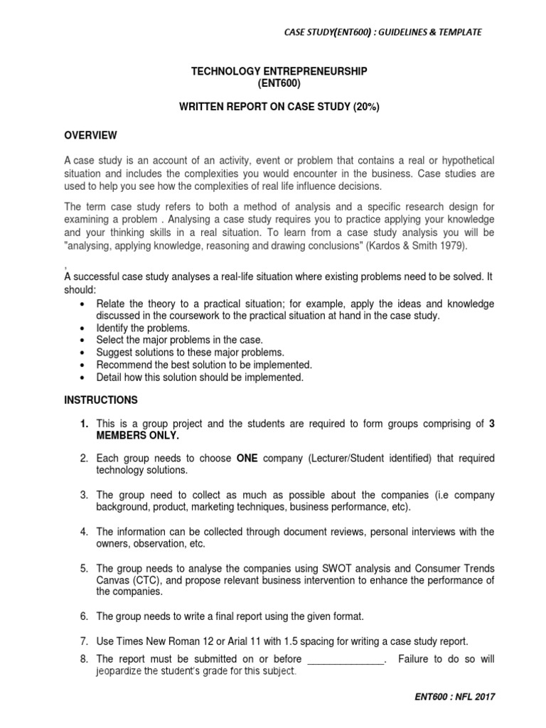 Ent600case studyguidelines template case study science wajeb Image collections