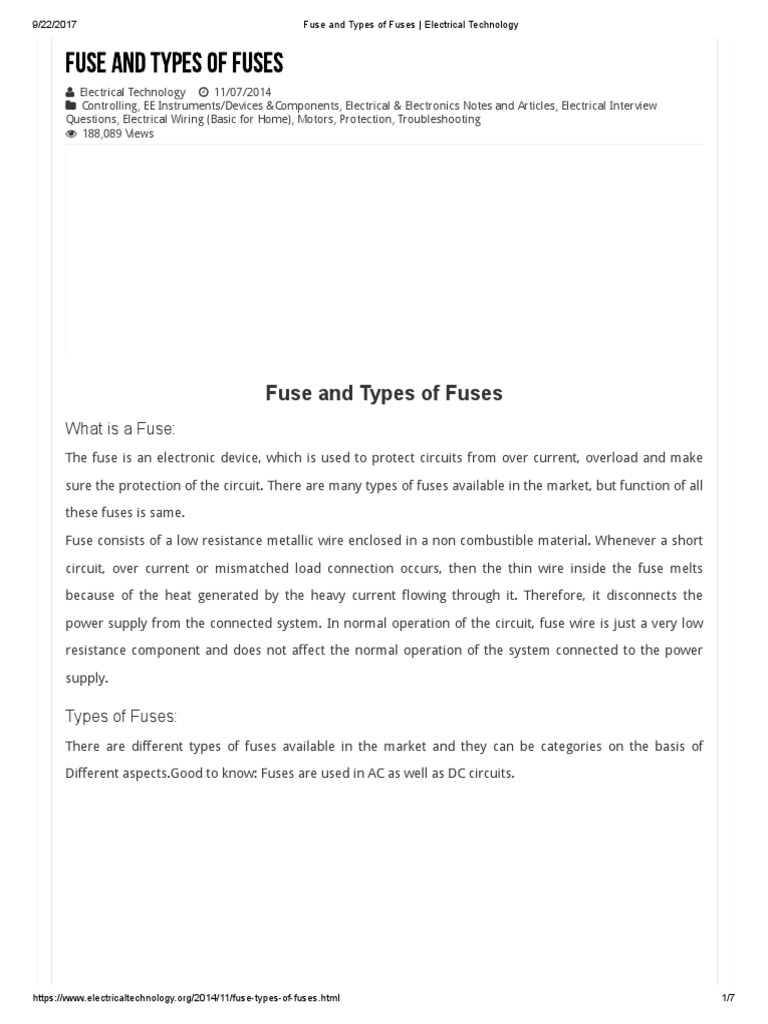 Fuse And Types Of Fuses Electrical Technology Ok Wiring Circuits Alternating Current