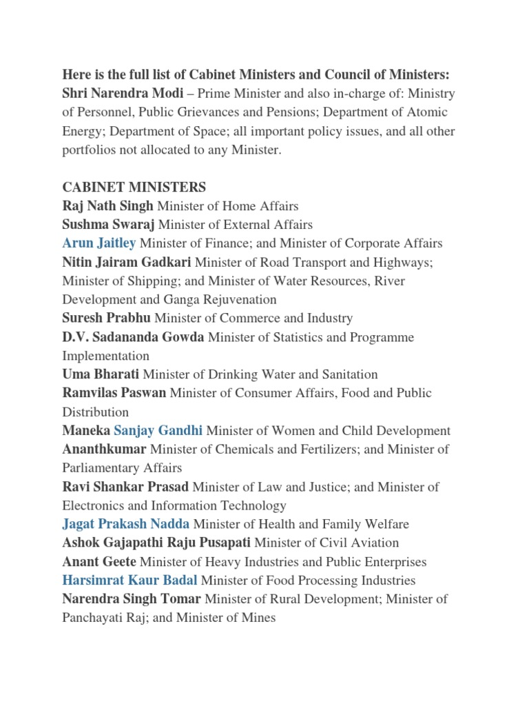 Indian Cabinet Ministers Sep3 2017 | Government Of India ...