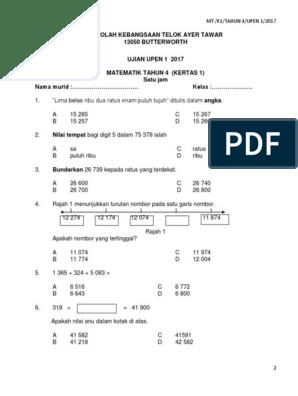 Soalan Matematik Tahun 4 Ujian 1 Bulan Mac 2017 3
