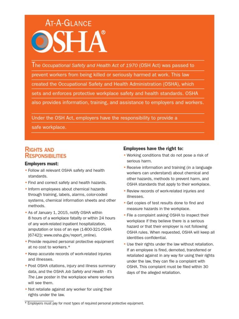 osha standards pdf   Occupational Safety And Health