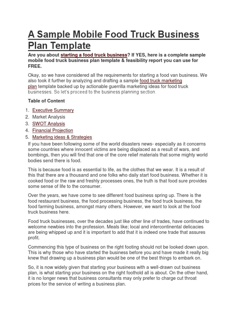 A sample mobile food truck business plan templatecx cheaphphosting Gallery