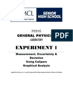 Expt 1 - Measurement Uncertainty Deviation%2c Using Caliper and Graphical Analysis