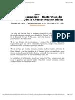 Génocide arménien - Déclaration du président de la Knesset Reuven Rivlin.pdf