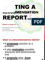 Writing a Recommendation Report