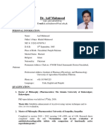 Dr. Asif Mahmood New 2017 CV (Updated)