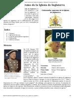 Gobernador Supremo de La Iglesia de Inglaterra - Wikipedia, La Enciclopedia Libre