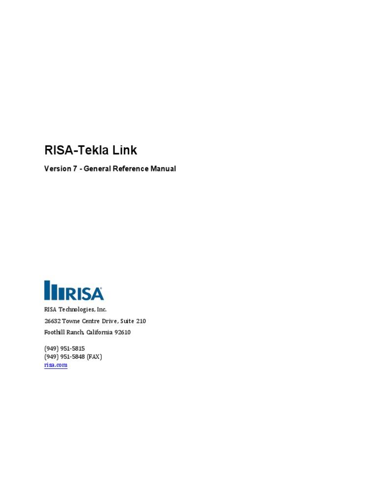 General Reference RISA-Tekla Link   Windows Registry   Beam