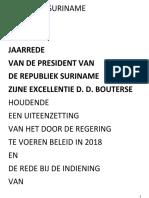 Jaarrede President Bouterse Dienstjaar 2018 29spt2017