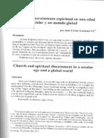 Scannone Iglesia y Discernimiento Espiritual en Una Edad Secular y Un Mundo Global