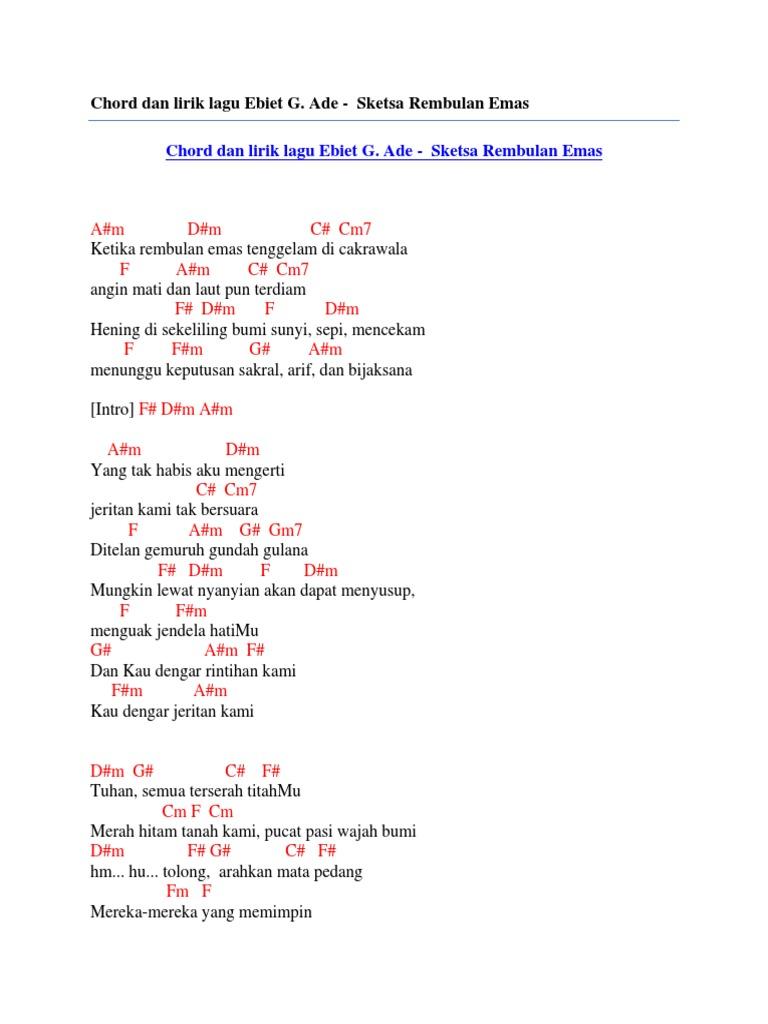 Chord Dan Lirik Lagu Ebiet G Ade Sketsa Rembulan Emas