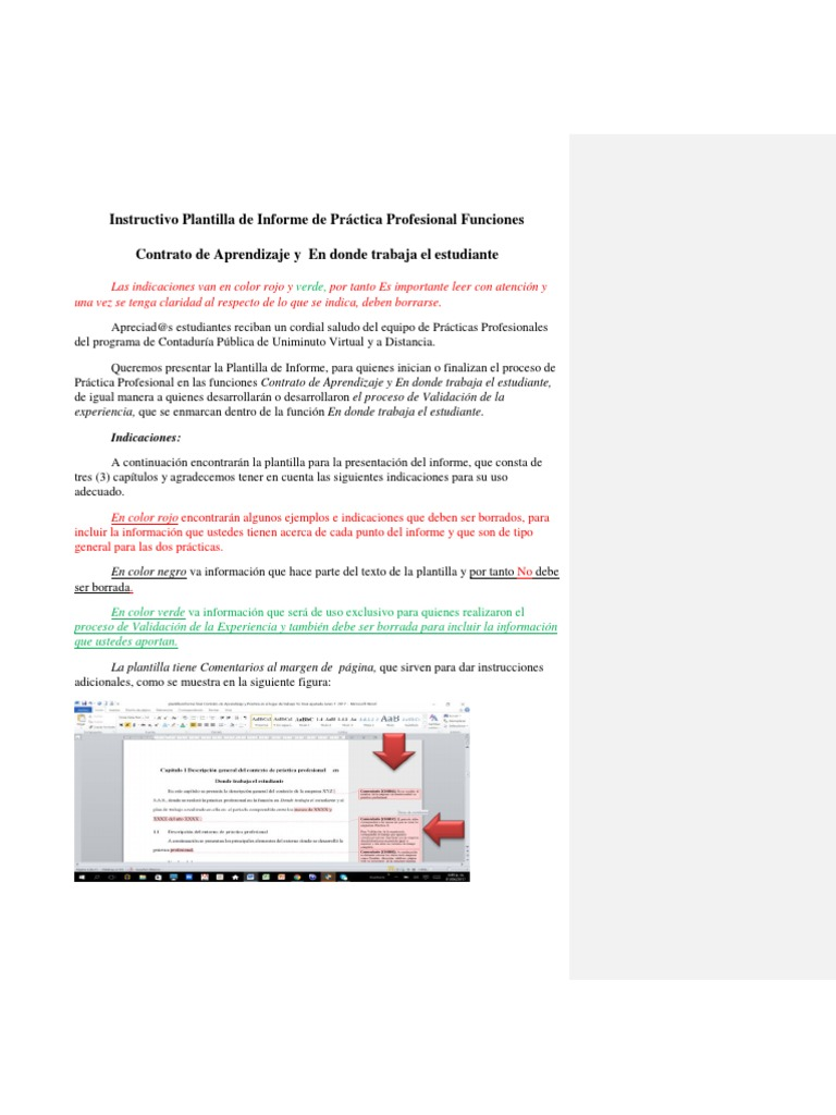 Plantilla Informe Final Donde Trabaja e Estudiante vs Final ...