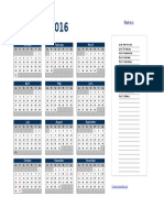 2016 Excel Yearly Calendar 01
