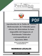 RM 004-2016-EF-15 - Base Para El Cálculo Del Impuesto Al Patrimonio Vehicular 2016
