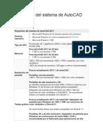 Requisitos Del Sistema de AutoCAD 2017