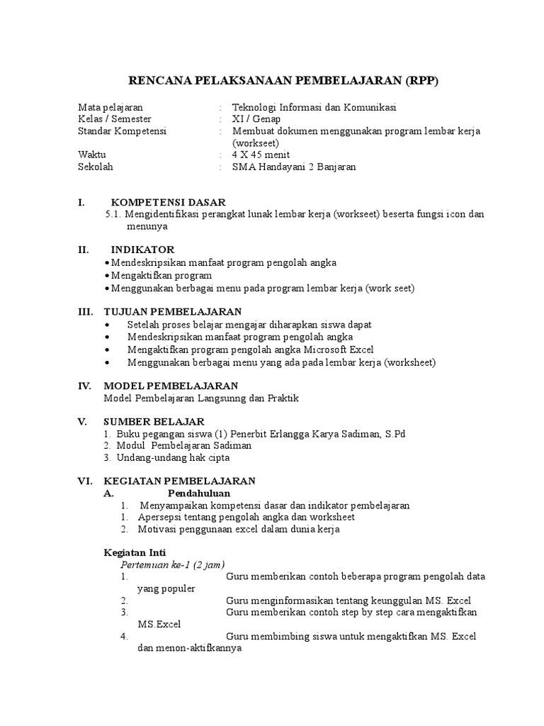 Rpp Tik Kelas Xi Sem 2 Doc