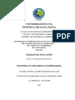 Estudio de Factibilidad de Una Planta de Curtido de Piel de Pescado Para Elaboración
