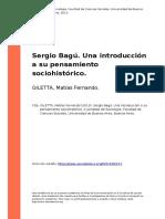 GILETTA, Matias Fernando (2013). Sergio Bagu. Una Introduccion a Su Pensamiento Sociohistorico