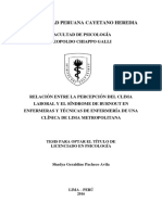 Relación Entre La Percepción Del Clima Laboral y El Síndrome de Burnout en Enfermeras y Técnicas de Enfermería de Una Clínica de Lima Metropolitana
