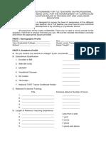 Checklist Questionnaire for Tle Teachers on Professional Preparation