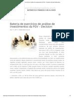 Bateria de Exercícios de Análise de Investimentos Da FGV – Decision _ Aprenda Matemática