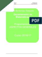 Programacion Dpto Matematicas 16_17 Aspectos Generales