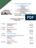 10. Schedule of Divine Services - October, 2017