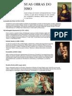 Artistas e Suas Obras Do Renascentismo