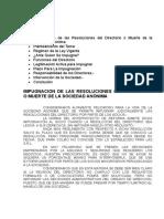 IMPUGNACION DE LAS RESOLUCIONES DEL DIRECTORIO O MUERTE DE LA SOCIEDAD ANÓNIMA