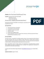 Prosserman JCC Fitness and Health Job Posting