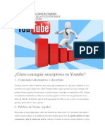 Tips Para Crecer Tu Canal de Youtube