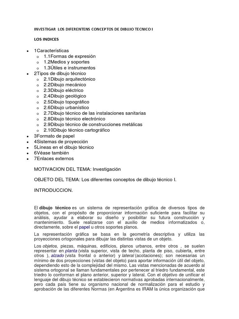 INVESTIGAR LOS DIFERENTENS CONCEPTOS DE DIBUJO TECNICO Idocx
