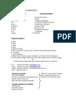 Marking Scheme Mid Term English Form 2