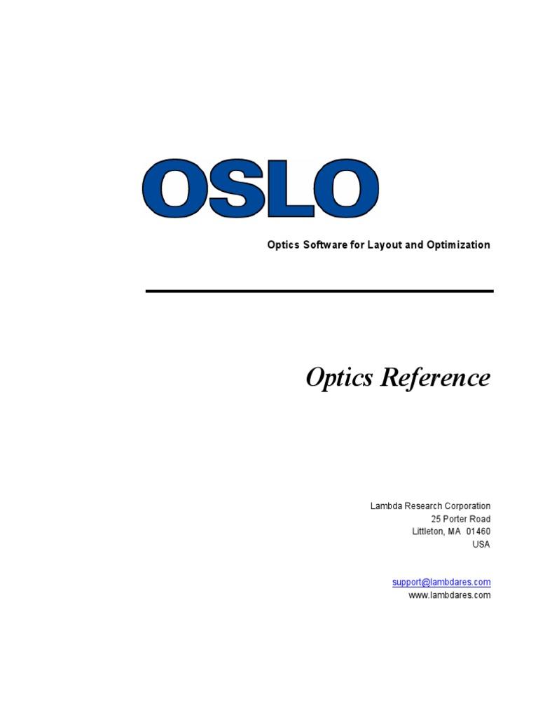 oslo-optics-reference pdf | Lens (Optics) | Menu (Computing)