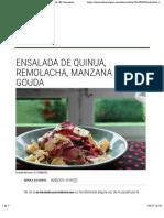 Ensalada de quinua, remolacha, manzana y gouda