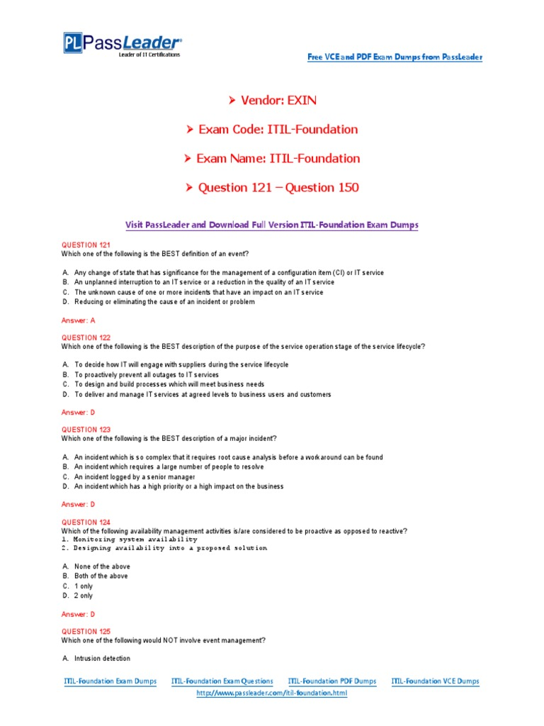Itil foundation exam dumps with pdf and vce download 121 150 itil foundation exam dumps with pdf and vce download 121 150 itil service level agreement xflitez Gallery