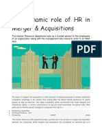 The Dynamic Role of HR in Merger