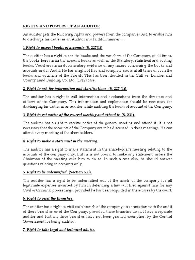 duties of company auditor