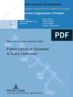 (Potsdam Linguistic Investigations _ Potsdamer Linguistische Untersuchungen _ Recherches Linguistiques à Potsdam 6) Peter Kosta, Lilia Schürcks-Formalization of Grammar in Slavic Languages_ Contributi